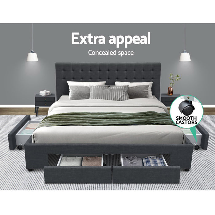 King Size Fabric Bed Frame Headboard with Drawers  - Charcoal