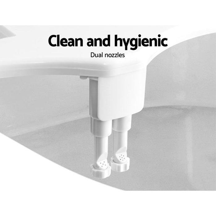 Non Electric Toilet Bidet Seat Hygiene Dual Nozzles Spray Wash Bathroom