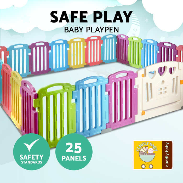 25-Panel Plastic Baby Playpen Interactive Kids Safety Gate