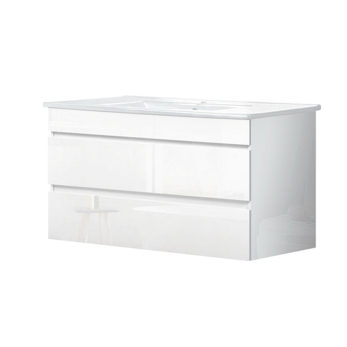 900mm Bathroom Vanity Cabinet Basin Unit Wash Sink Storage Wall Mounted White