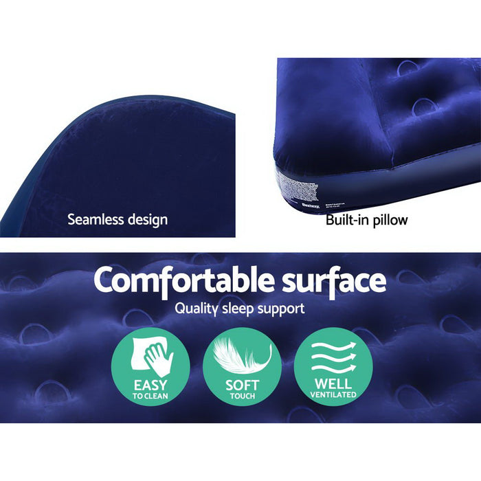 Single Size Inflatable Air Mattress - Navy