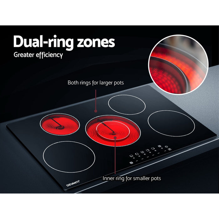 90cm Ceramic Cooktop Electric Cook Top 5 Burner Stove Hob Touch Control 6-Zones