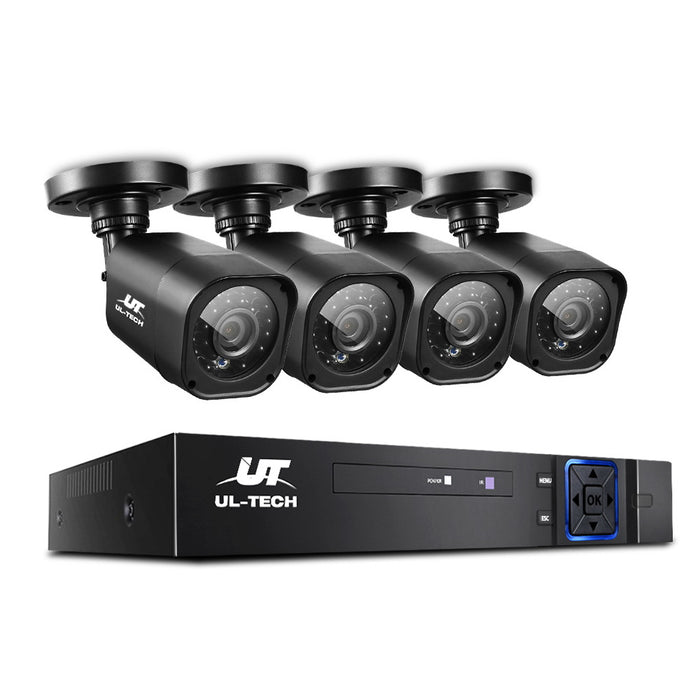 4CH 5 IN 1 DVR CCTV Security System Video Recorder 4 Cameras 1080P HDMI Black