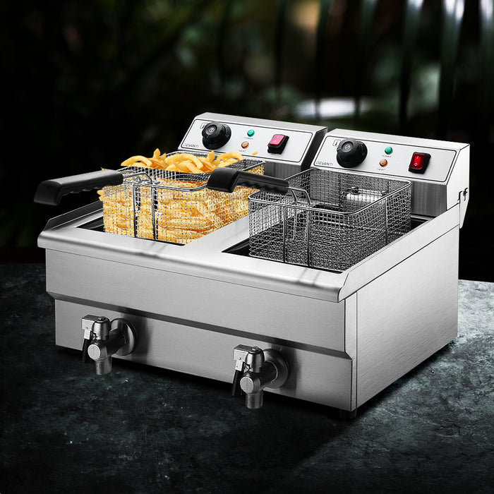 Commercial Electric Deep Fryer Twin Frying Basket Chip Cooker Countertop