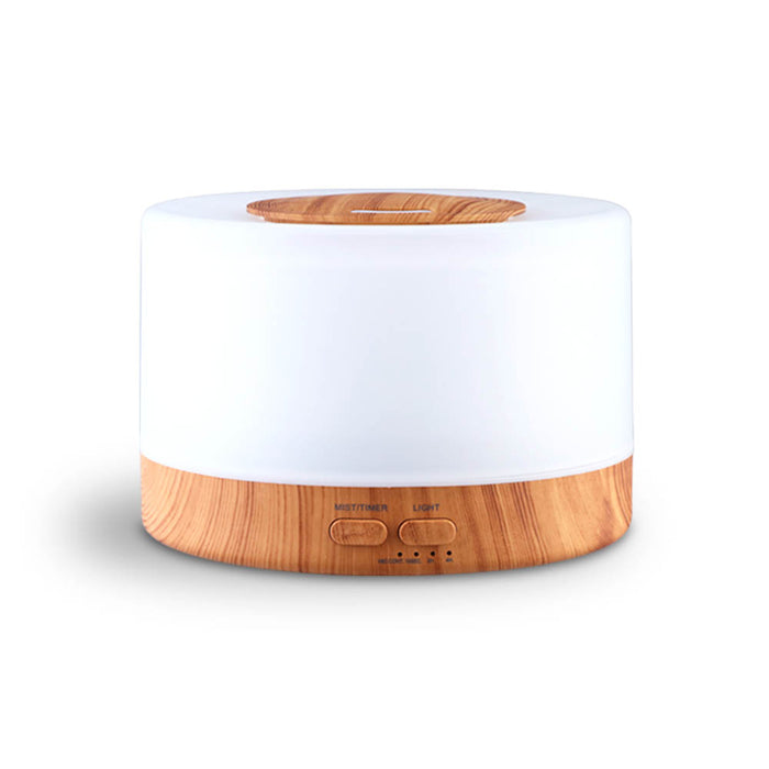 Aroma Diffuser Aromatherapy LED Night Light Air Humidifier Purifier Round Light Wood Grain 500ml Remote Control