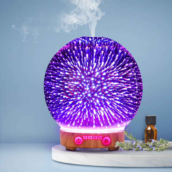 Aromatherapy Diffuser Aroma Humidifier Ultrasonic 3D Firework Light Oil