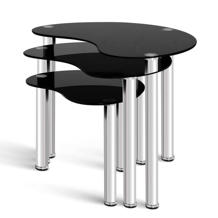 Set Of 3 Glass Coffee Tables - Black