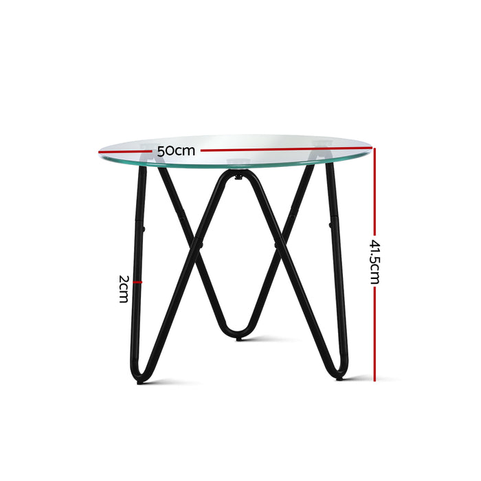 Coffee Table Glass End Side Tables High Gloss Display Modern Furniture 50X50CM