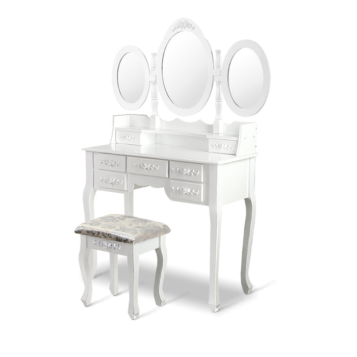 7 Drawer Dressing Table with Mirror - White
