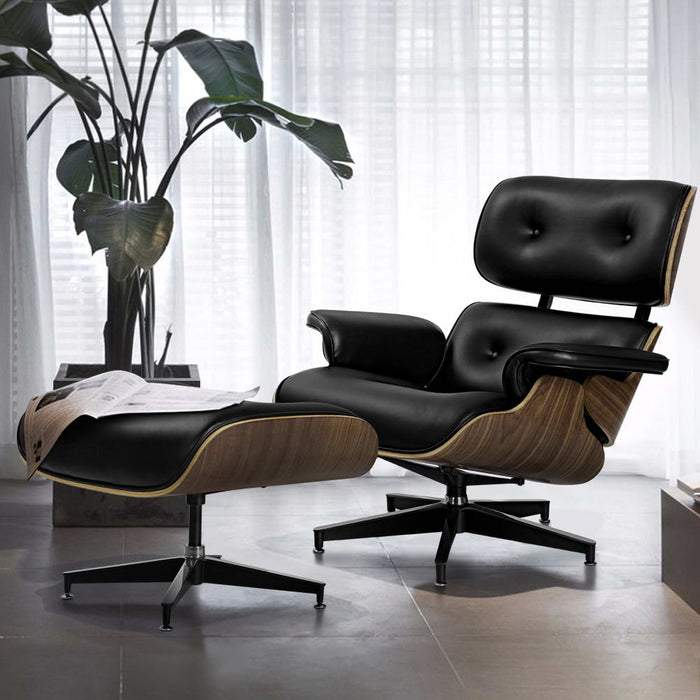 Eames Replica Lounge Chair and Ottoman Recliner Armchair Leather Plywood Black