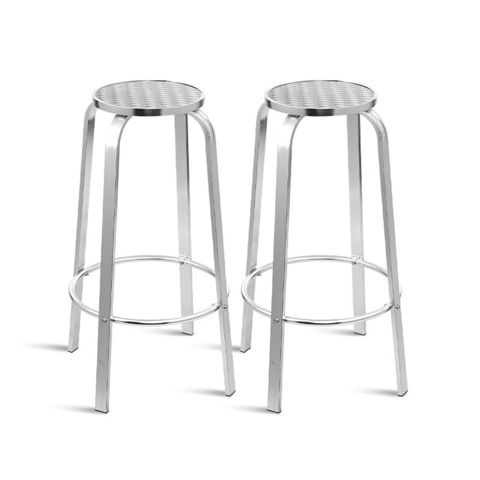 Outdoor Bar Stools Patio Furniture Indoor Bistro Kitchen Aluminum x2