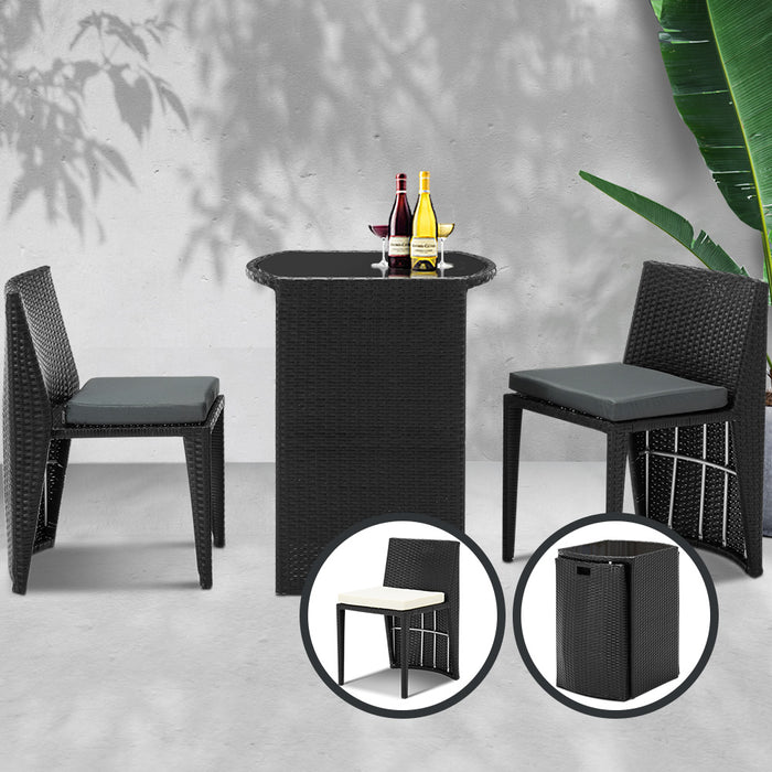 3 Piece PE Wicker Outdoor Table and Chair Set - Black