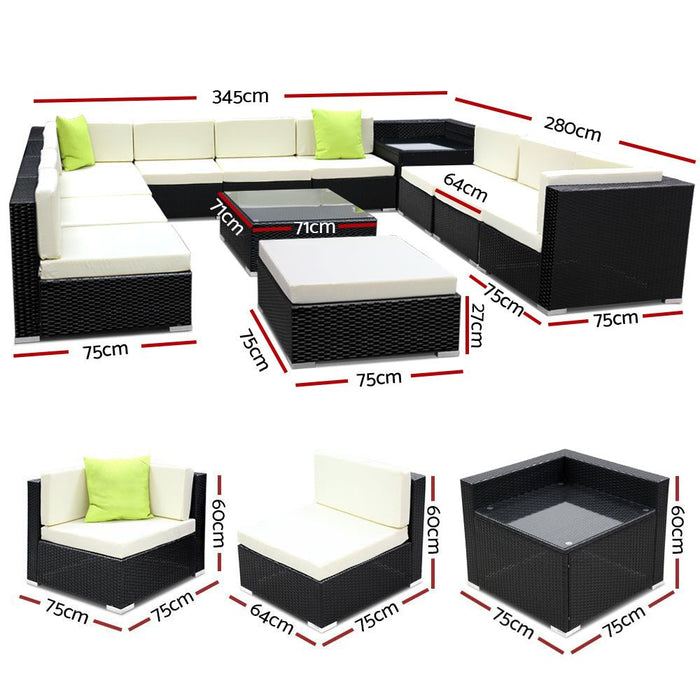 13PC Outdoor Furniture Sofa Set Wicker Garden Patio Lounge