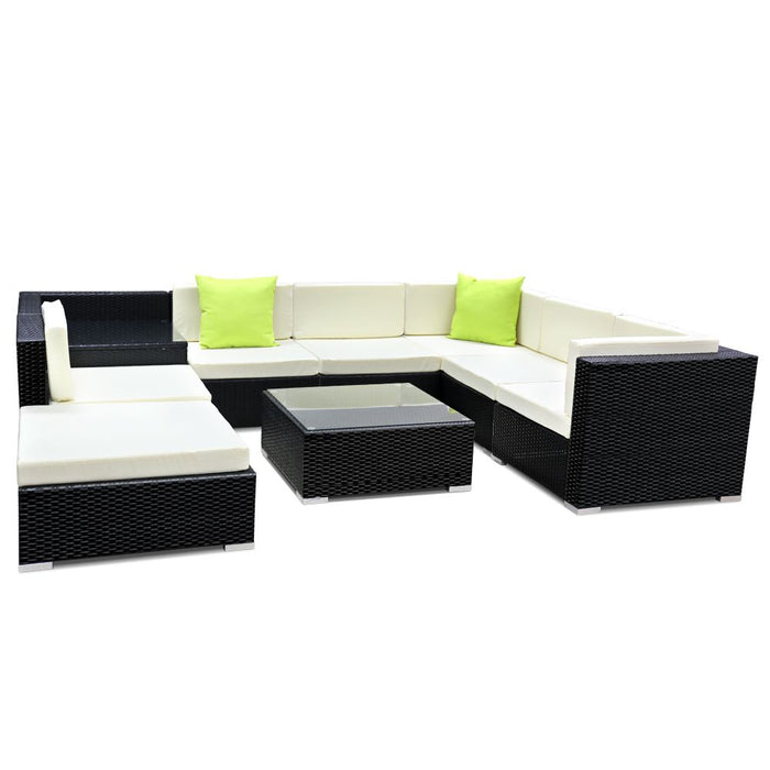 9PC Outdoor Furniture Sofa Set Wicker Garden Patio Pool Lounge