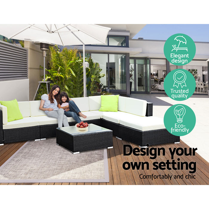 2PC  Outdoor Furniture Sofa Set Wicker Rattan Garden Lounge Chair Setting