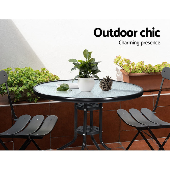 Outdoor Dining Table Bar Setting Steel Glass 70CM