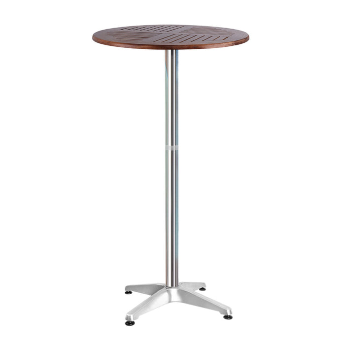 Outdoor Bar Table Furniture Wooden Cafe Table Aluminium Adjustable Round