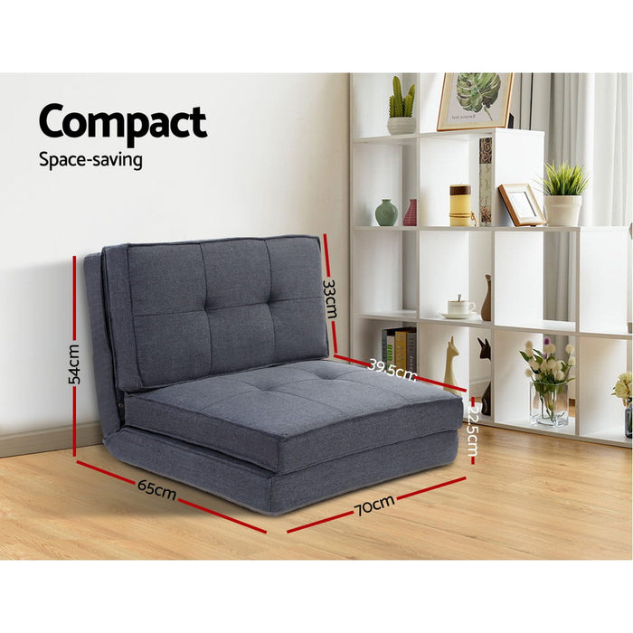 Lounge Sofa Bed Floor Couch Recliner Chaise Chair Futon Folding Grey
