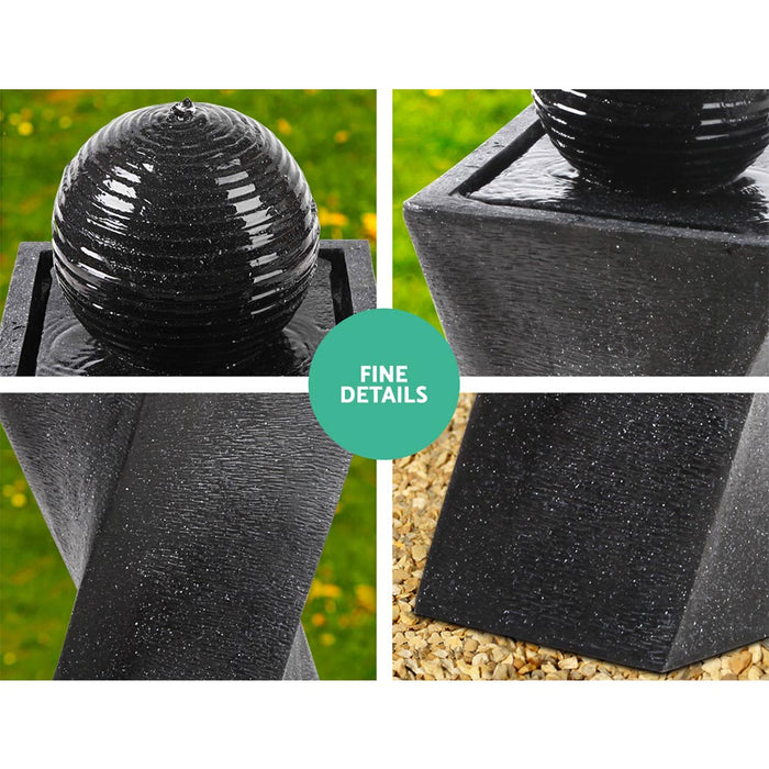 Solar Powered Water Fountain Twist Design with Lights