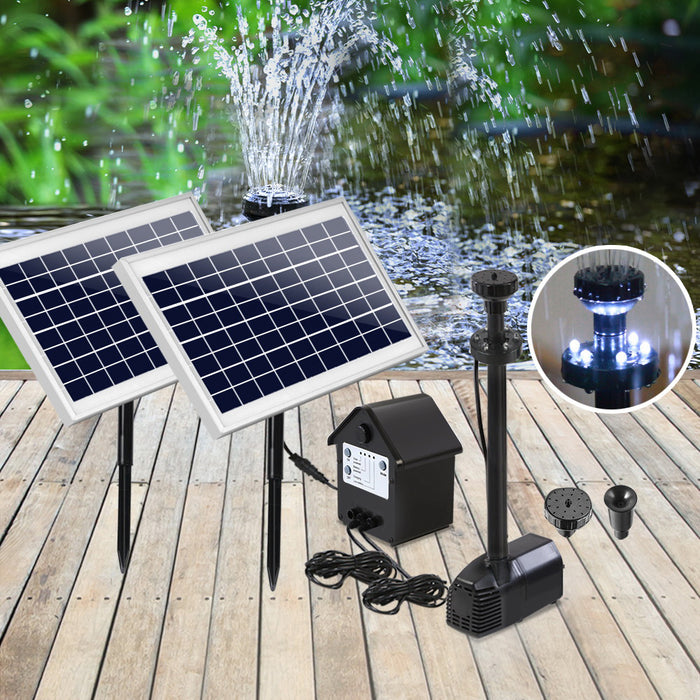 110W LED Lights Solar Fountain with Battery Outdoor Fountains Submersible Water Pump