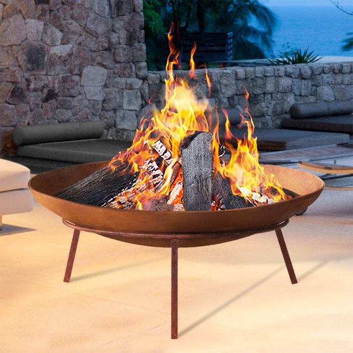 Rustic Fire Pit Heater Charcoal Iron Bowl Outdoor Patio Wood Fireplace 60CM