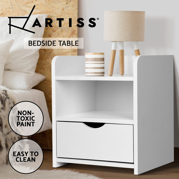 Bedside Table Drawer - White