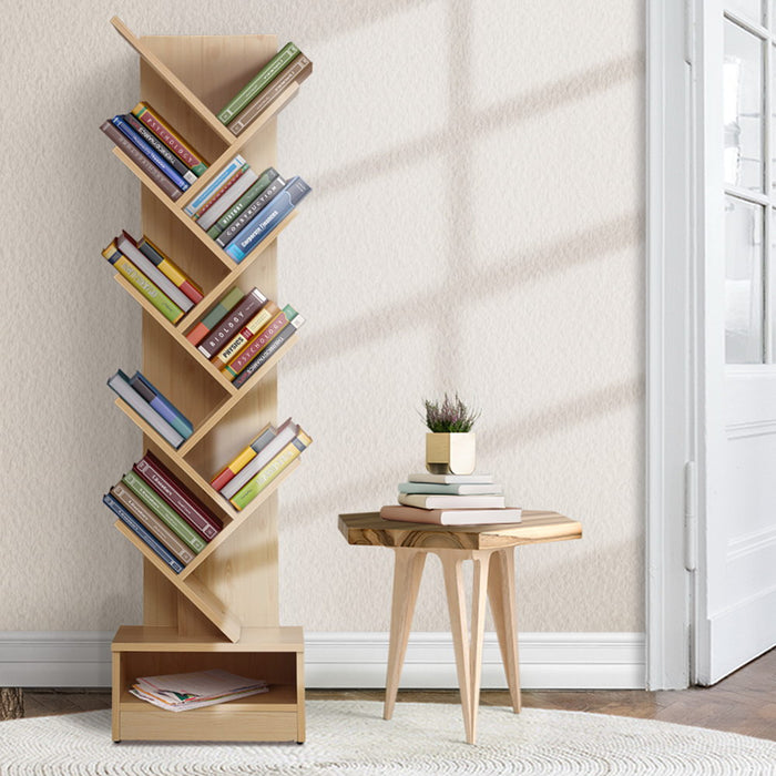 Display Shelf 9-Shelf Tree Bookshelf Book Storage Rack Bookcase Natural