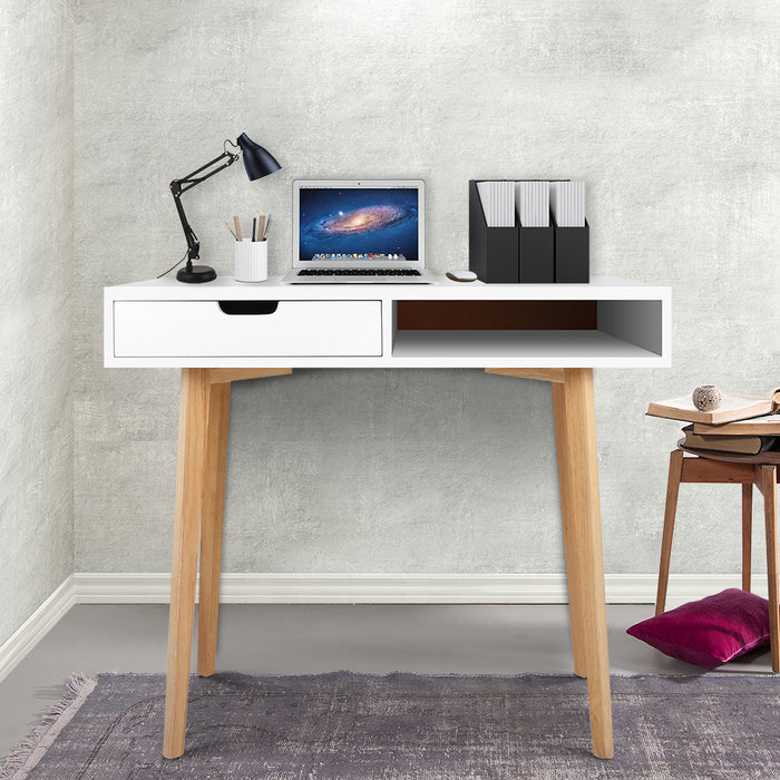 Wood Computer Desk with Drawers - White