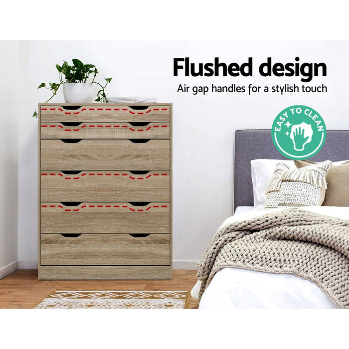 6 Chest of Drawers Tallboy Dresser Table Storage Cabinet Oak Bedroom