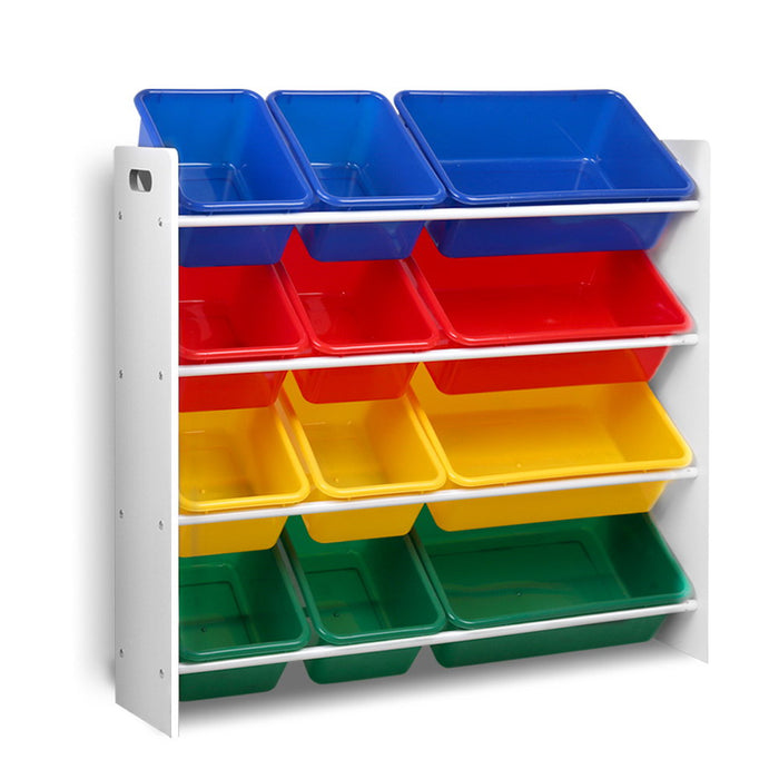 12 Plastic Bins Kids Toy Organiser Box Bookshelf Storage Rack Cabinet