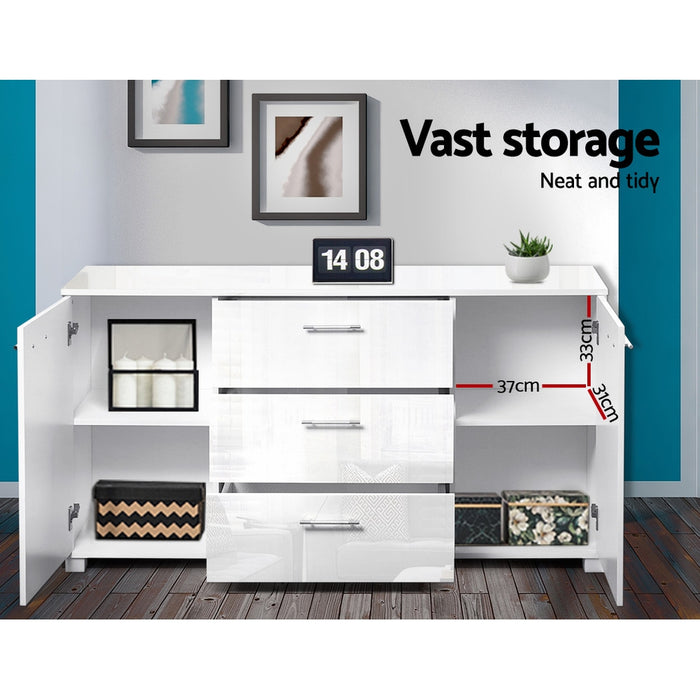 High Gloss Sideboard Storage Cabinet Cupboard - White