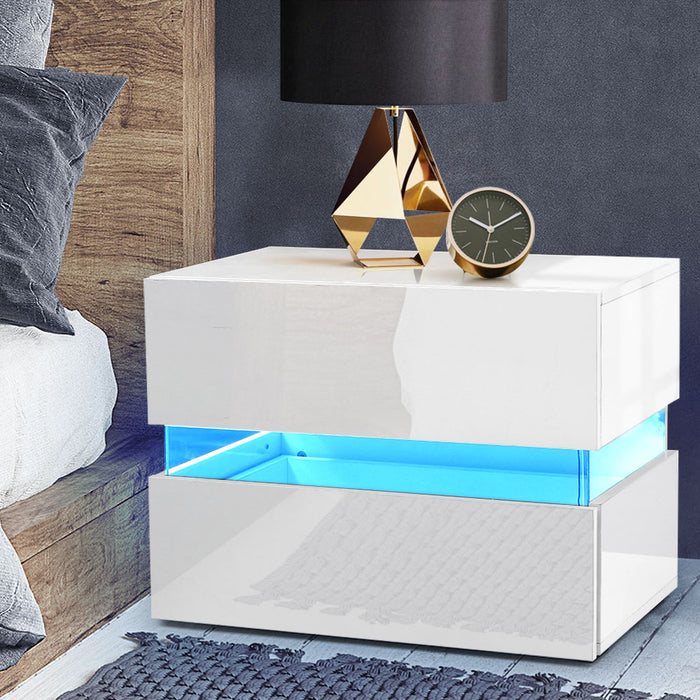 Bedside Table 2 Drawers RGB LED Side Nightstand High Gloss Cabinet White
