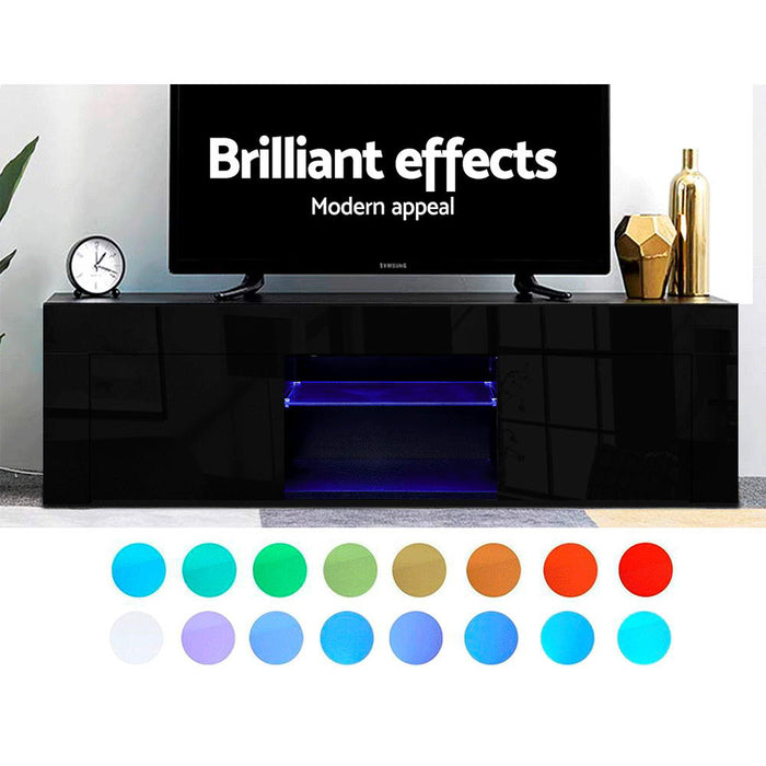 130cm RGB LED TV Stand Cabinet Entertainment Unit Gloss Furniture Black