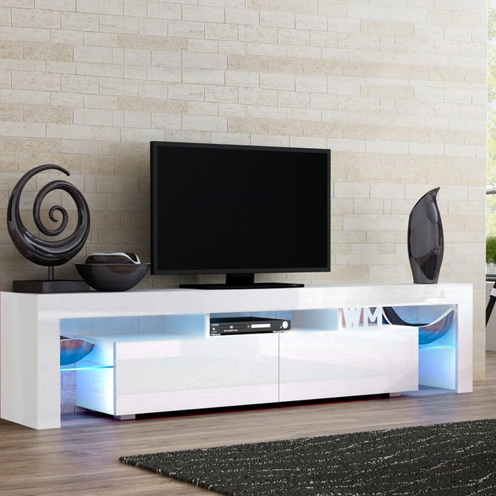 189cm RGB LED TV Stand Cabinet Entertainment Unit Gloss Furniture Drawers Tempered Glass Shelf White