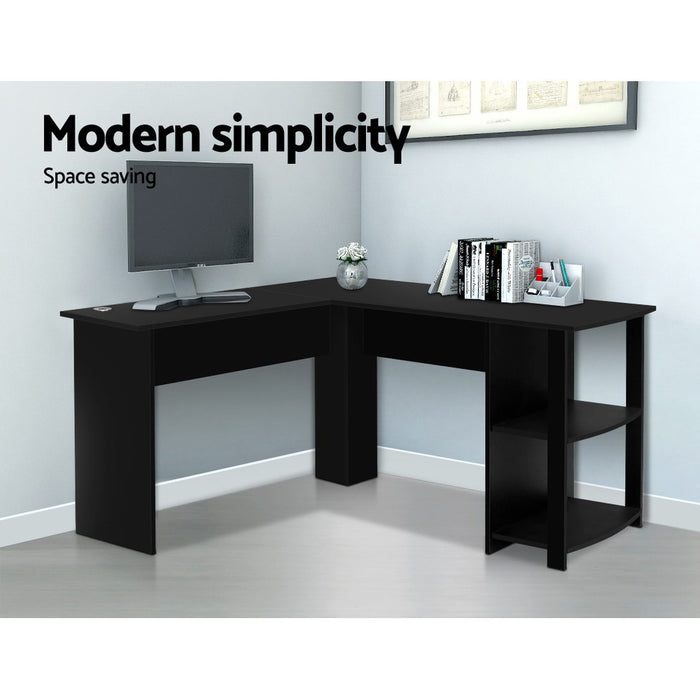 Office Computer Desk Corner Student Study Table Workstation L-Shape Black