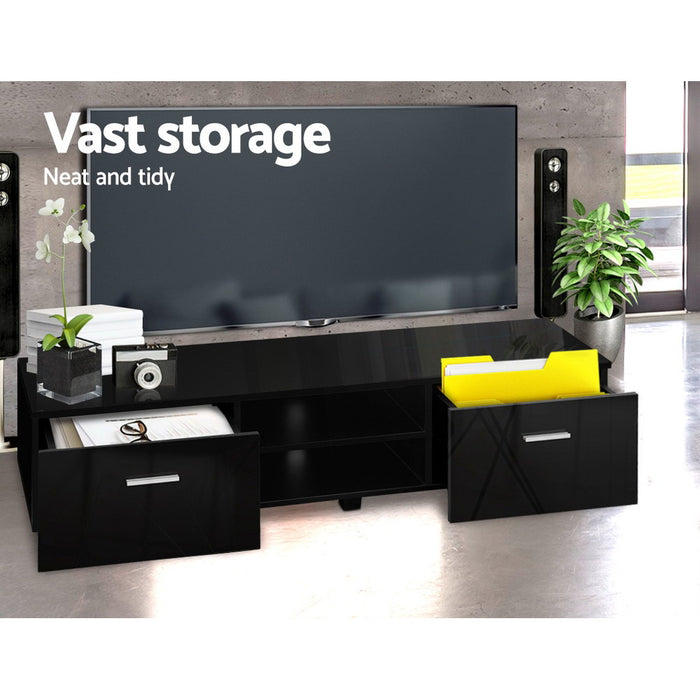 140cm High Gloss TV Cabinet Stand Entertainment Unit Storage Shelf Black