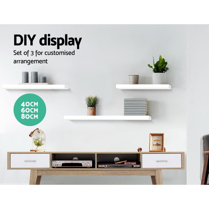 3 Piece Floating Wall Shelves - White