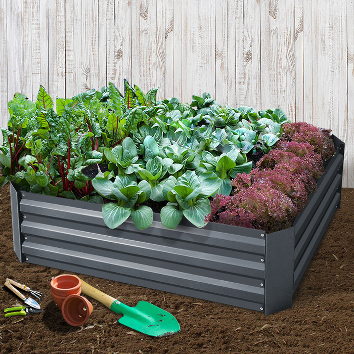 Garden Bed 2PCS 120X90X30CM Galvanised Steel Raised Planter