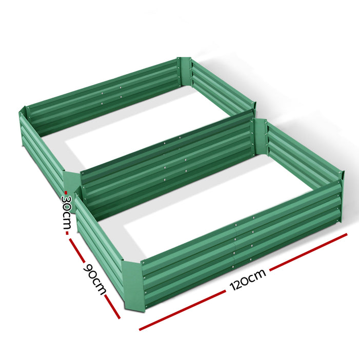 Set of 2 120 x 90cm Raised Garden Bed - Green