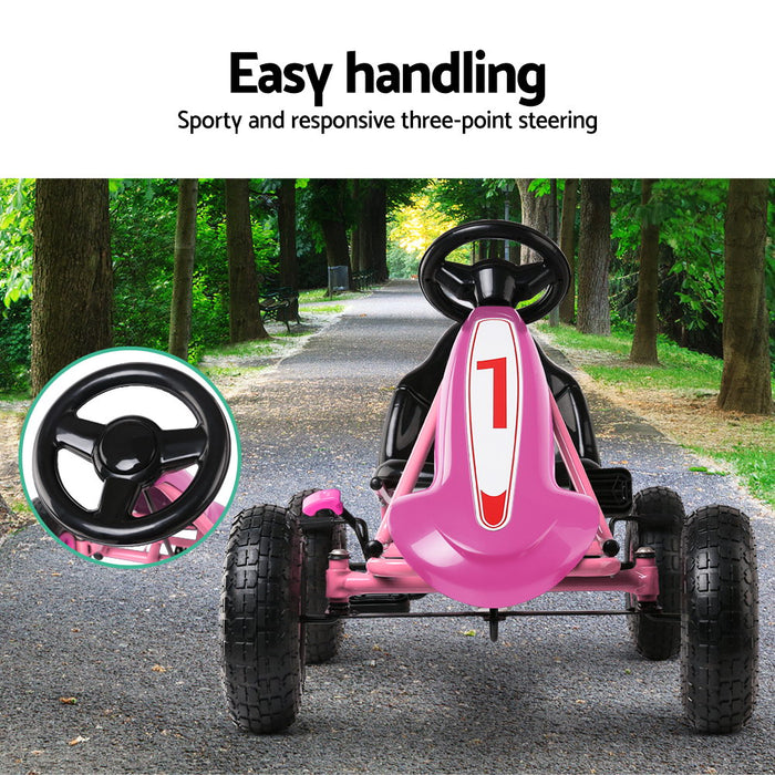 Kids Pedal Go Kart Car Ride On Toys Racing Bike Pink