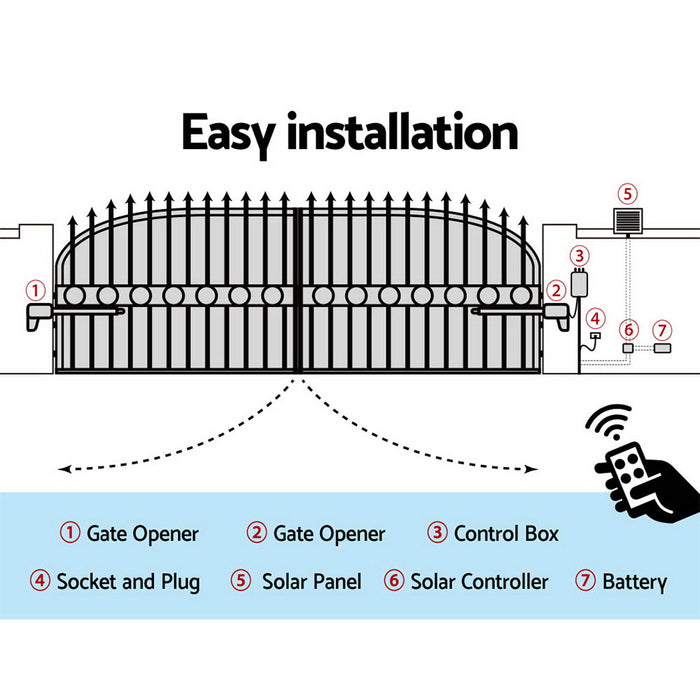1000KG Swing Gate Opener Auto Solar Power Electric Kit Remote Control