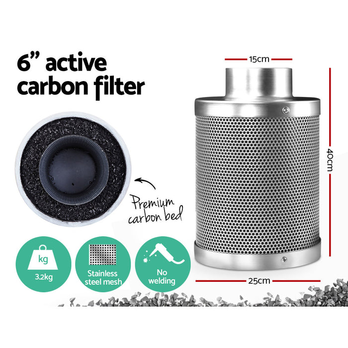 Hydroponic Activated Carbon Filter Grow Tent Ventilation Kit 6 inch