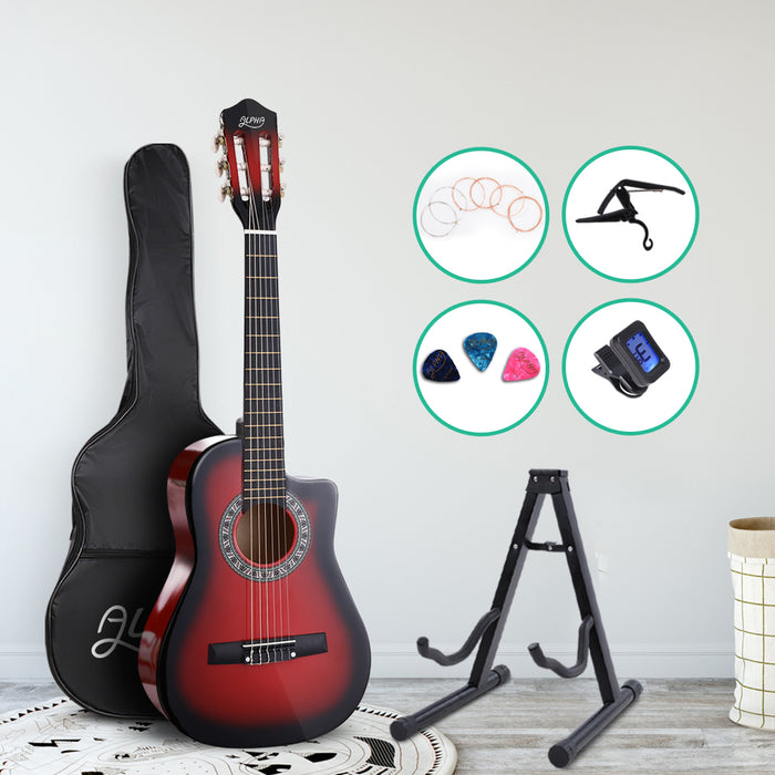 "34"" Inch Guitar Classical Acoustic Cutaway Wooden Ideal Kids Gift Children 1/2 Size Red with Capo Tuner"