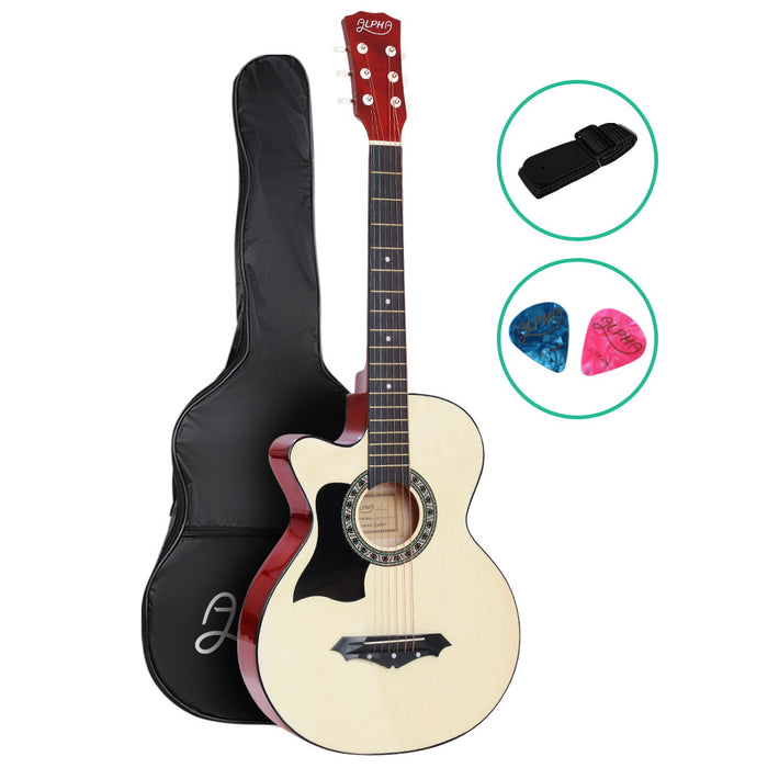 38 Inch Wooden Acoustic Guitar Left handed - Natural Wood