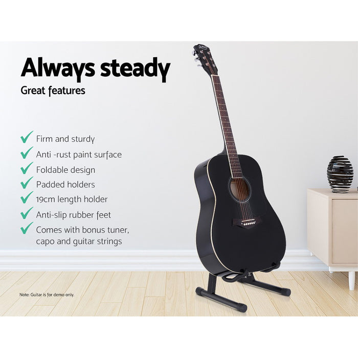 Folding Acoustic Guitar Stand Bass Floor Rack Holder Accessories Pack