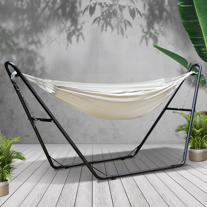 Hammock Bed with Steel Frame Stand - Cream