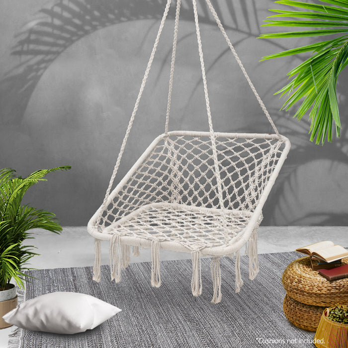 Camping Hammock Chair Outdoor Hanging Rope Portable Swing Hammocks Cream