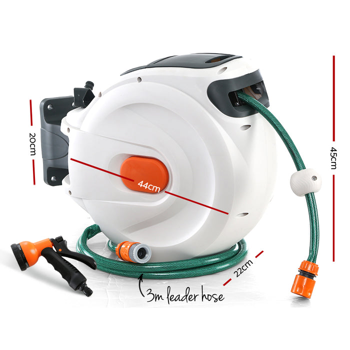 Retractable Hose Reel 30M Garden Water Spray Gun Auto Rewind