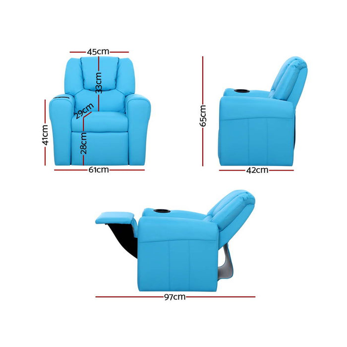 Luxury Kids Recliner Sofa Children Lounge Chair PU Couch Armchair Blue