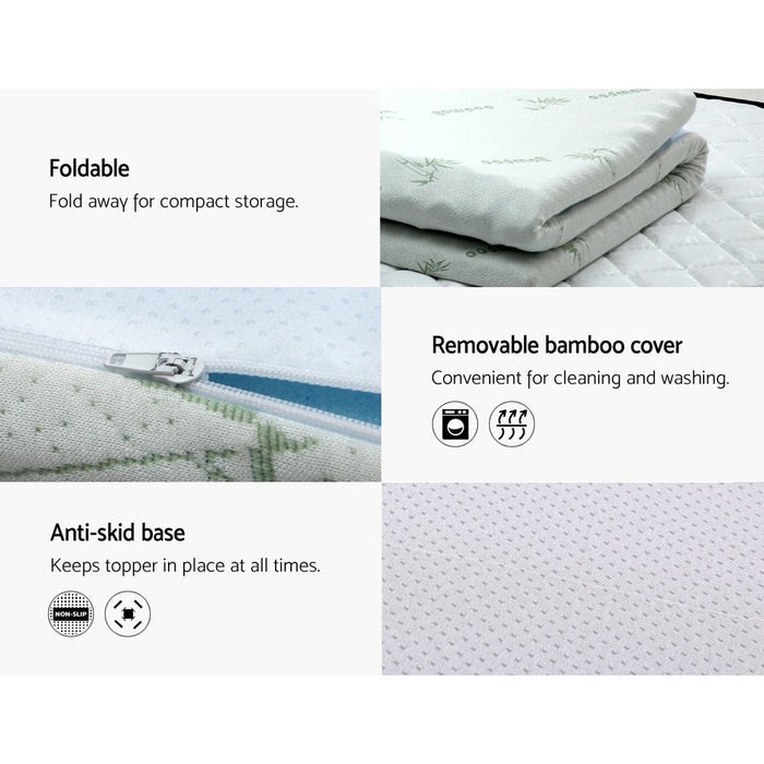 Bedding Cool Gel Memory Foam Mattress Topper Bamboo Cover 5CM 7-Zone Double